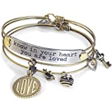 Inspirational Message Love Charm Bracelet Gift Set, Know in Your Heart You Are Loved