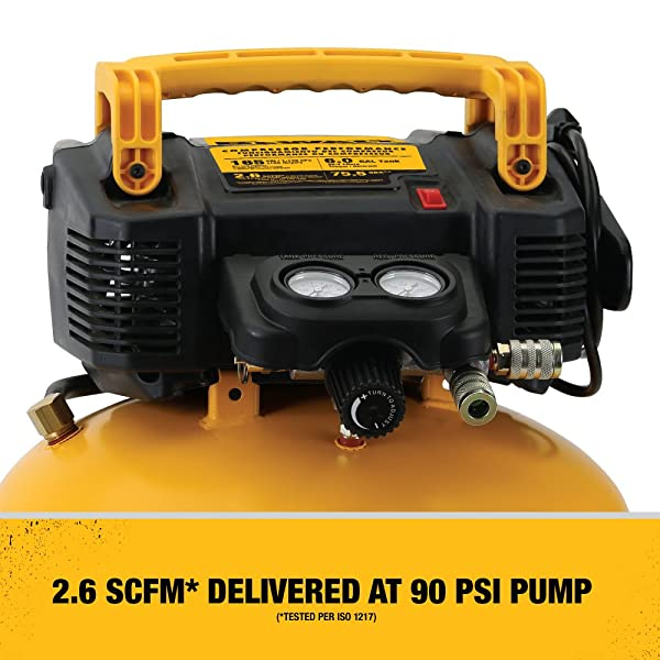 DEWALT DWFP55126 is the best well-built air compressor that provides sufficient power to run small to medium air tools