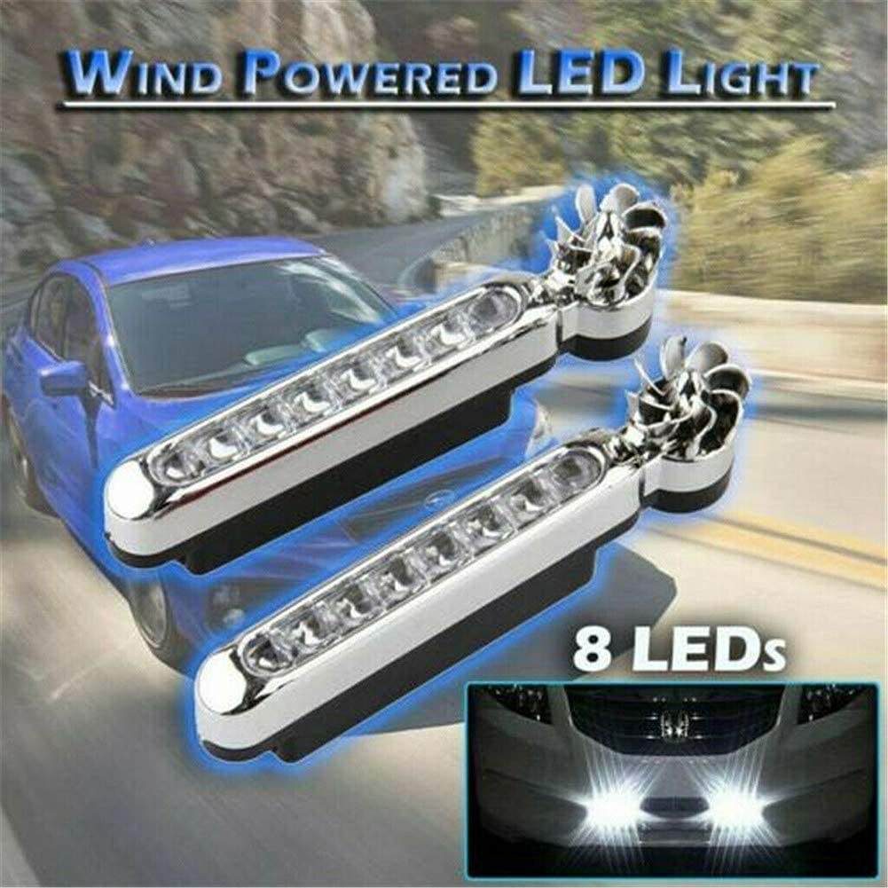 eamqrkt 1 Pair Wind Driven Car Front Lights with Fan Rotation for Car Fog Warning 8x LEDs