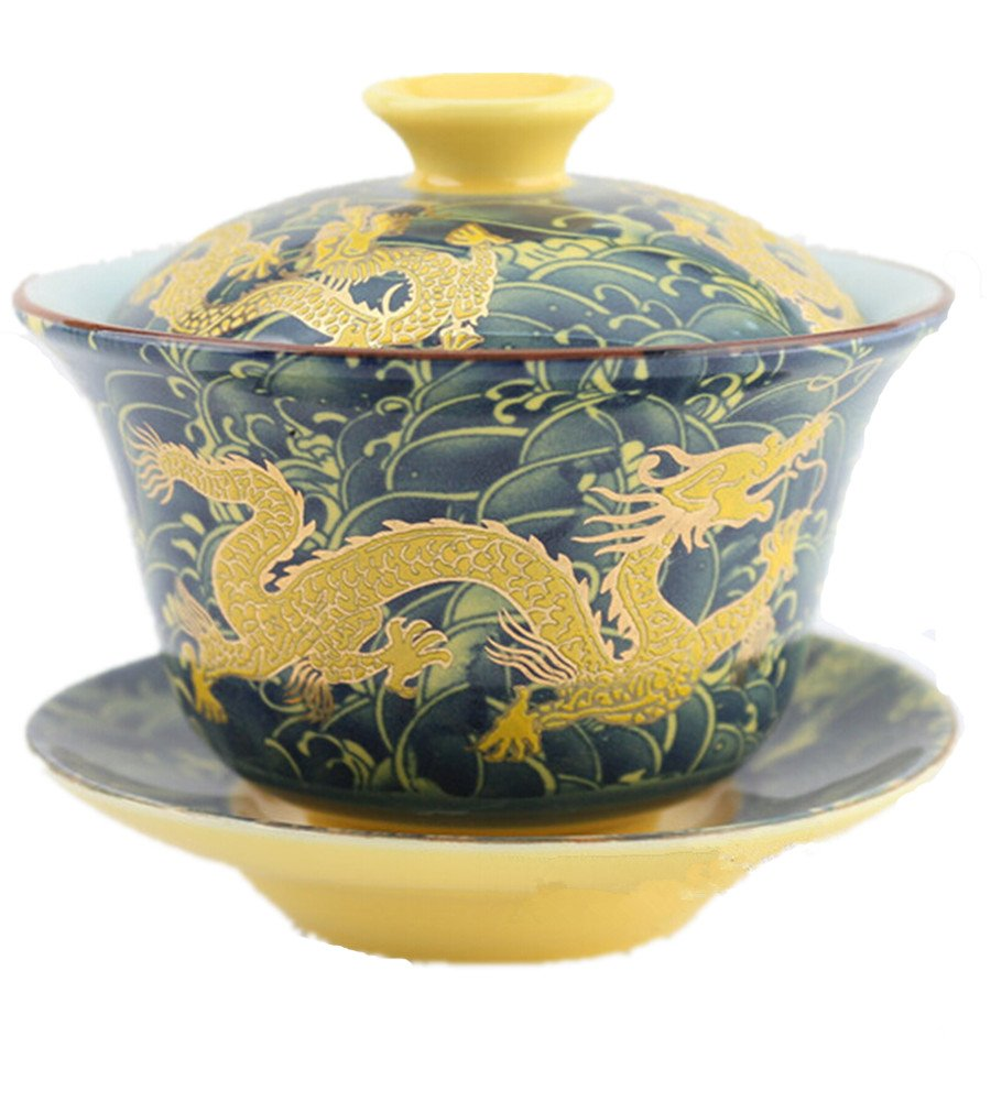 Chinese Porcelain Gaiwan Dark Blue Dragon Tradition Sancai Tea Cup Tea Set Best Gift Moyishi-uk