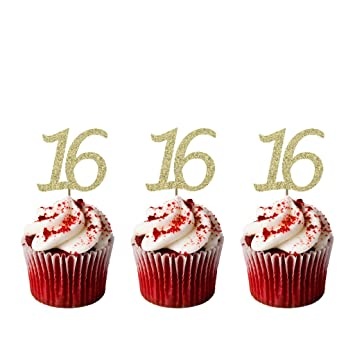 LissieLou 16th Birthday Cupcake Toppers Gold Pack of 10 Amazon