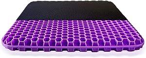 Brisun Gel Seat Cushion - Purple Enhanced Double Non-Slip Seat Cushion for Tailbone Pain Relief - Seat Cushion for The Car Or Office Chair - Sciatica & Back Pain Relief