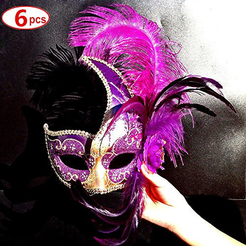 [6 Pcs in Lot Wholesale in Bulk Purple Long Ostrich Feather Gold Face with [Vivid Swan] Venetian Women Mask For Masquerade / Party / Ball Prom / Mardi Gras / Wedding / Wall] (Black Swan Costumes For Halloween)
