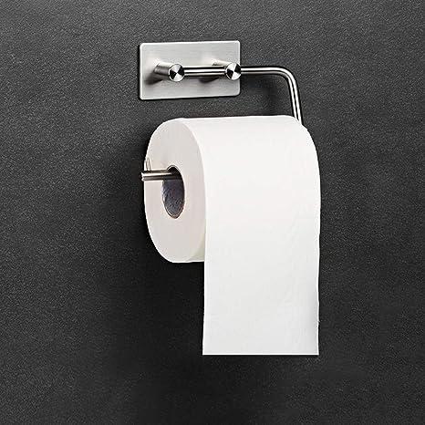 Portarrollo para Papel Higiénico, Portarrollos Baño Adhesivo Portarollos Papel Higienico Sin Taladrar Acero Inoxidable Porta Rollo Papel Higienico ...