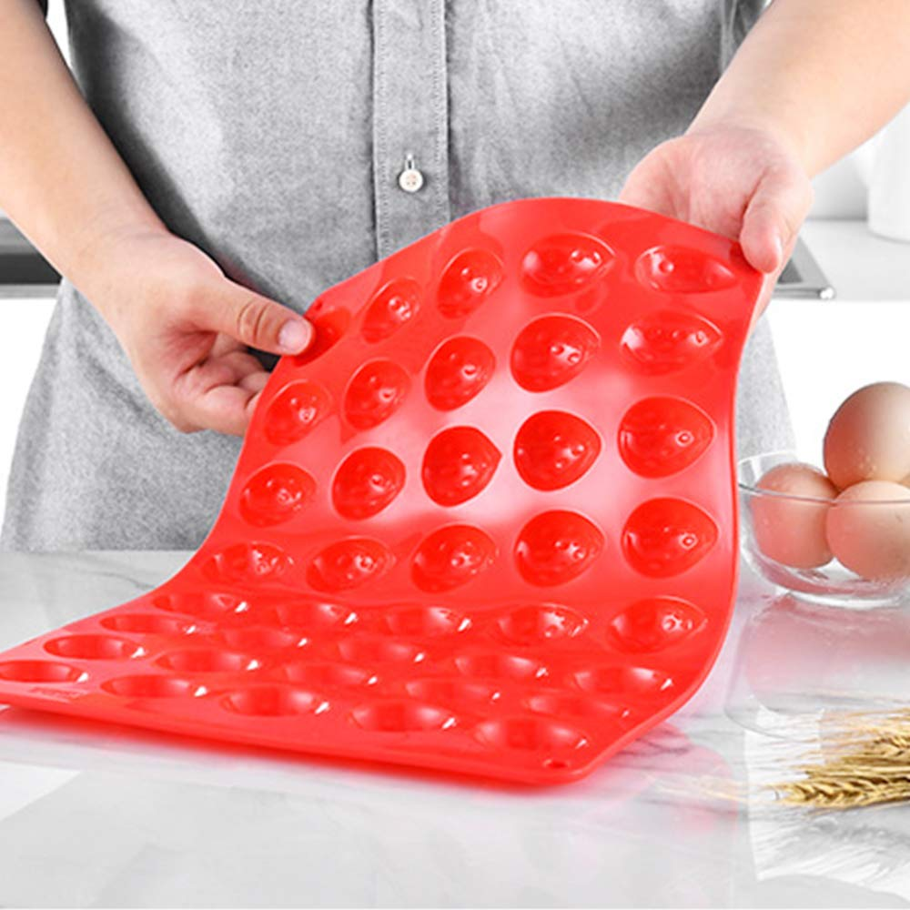 Cake Jelly Baking Mold for Making Chocolate Dome Mousse Mini Strawberry 40-Cavity Mini Strawberry Silicone Mold