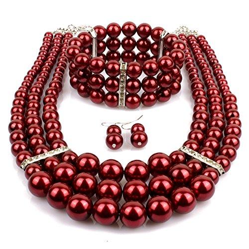 KOSMOS-LI Multi Layer Burgundy Imitate Pearl Strand Costume Jewelry (Costume Jewelry Beads)