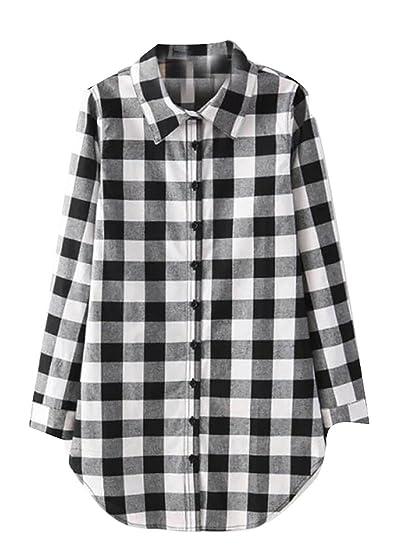5db655cd7153a0 KLJR Womens Casual Plaid Long Sleeve Plus Size Button Down Shirt Black US S