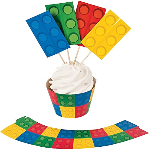 Color Building Brick Party Cupcake Wrapper With Picks
