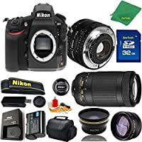 Great Value Bundle for D810 DSLR – 50MM 1.8D + 70-300MM AF-P + 32GB Memory + Wide Angle + Telephoto Lens + Case