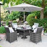 Maze Rattan Outdoor Garden Furniture LA 4 Seat 1.2m Round Table Grey Rattan Dining Set