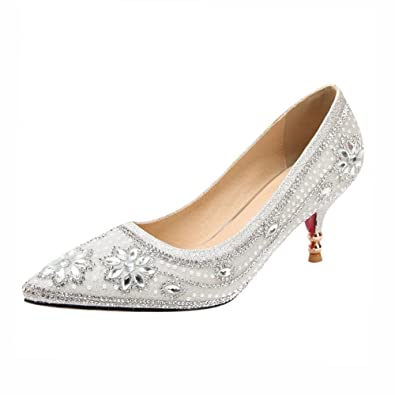 Amazon.com | Agodor Womens Silver Wedding Bride Glitter Pumps ...