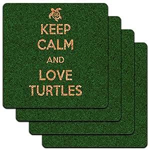 Keep Calm And Love Turtles Pet Animal Low Profile Cork Coaster Set