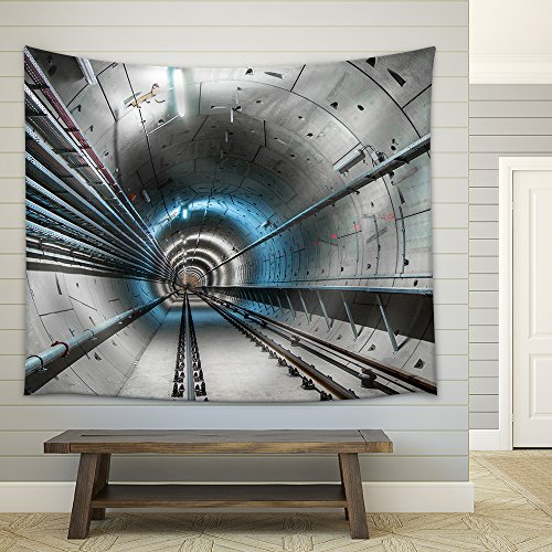 Underground Tunnel with Blue Lights Angle Shot Fabric Wall