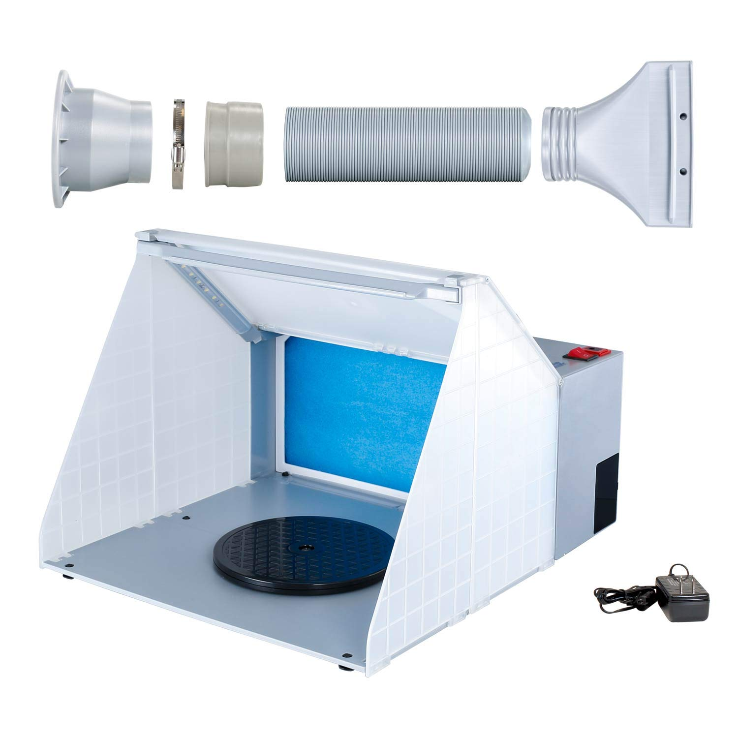 Master Airbrush Brand Lighted Portable Hobby Airbrush Spray Booth with LED Lighting for Painting All Art, Cake, Craft, Hobby, Nails, T-Shirts & More. Includes 6 Foot Exhaust Extension Hose by Master Airbrush