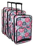 Ever Moda Floral 3-Piece Carry On Luggage Set (Pink)
