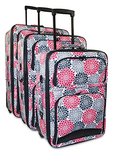Ever Moda Floral 3-Piece Carry On Luggage Set (Pink) by Ever Moda