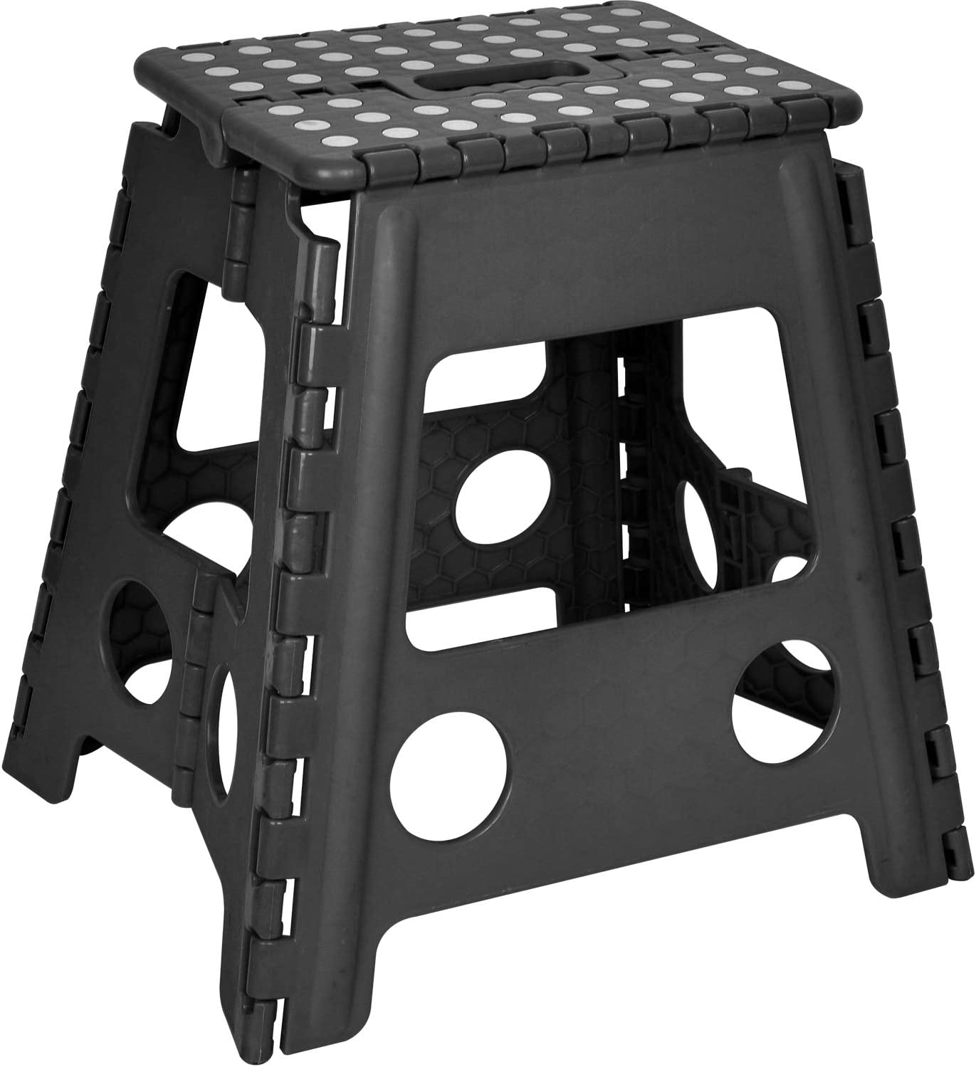 Folding Step Stool - 15 Inch Height Heavy Duty Foldable Stool for Adults and Kids, Kitchen Stepping Stools, Garden Bathroom Step Stool Black