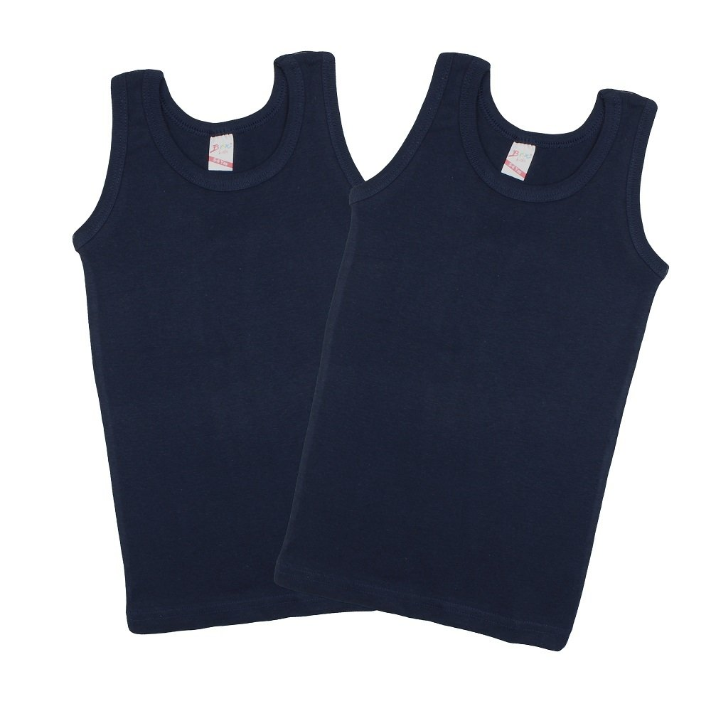 Boys' Tank Top 100% Cotton - Super Soft Comfort Navy 2-pk Tees Undershirt.