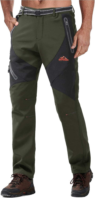 No Belt TACVASEN Mens Pants-Winter Fleece Lining Snow Sports Ski Snowboard Cargo Pants