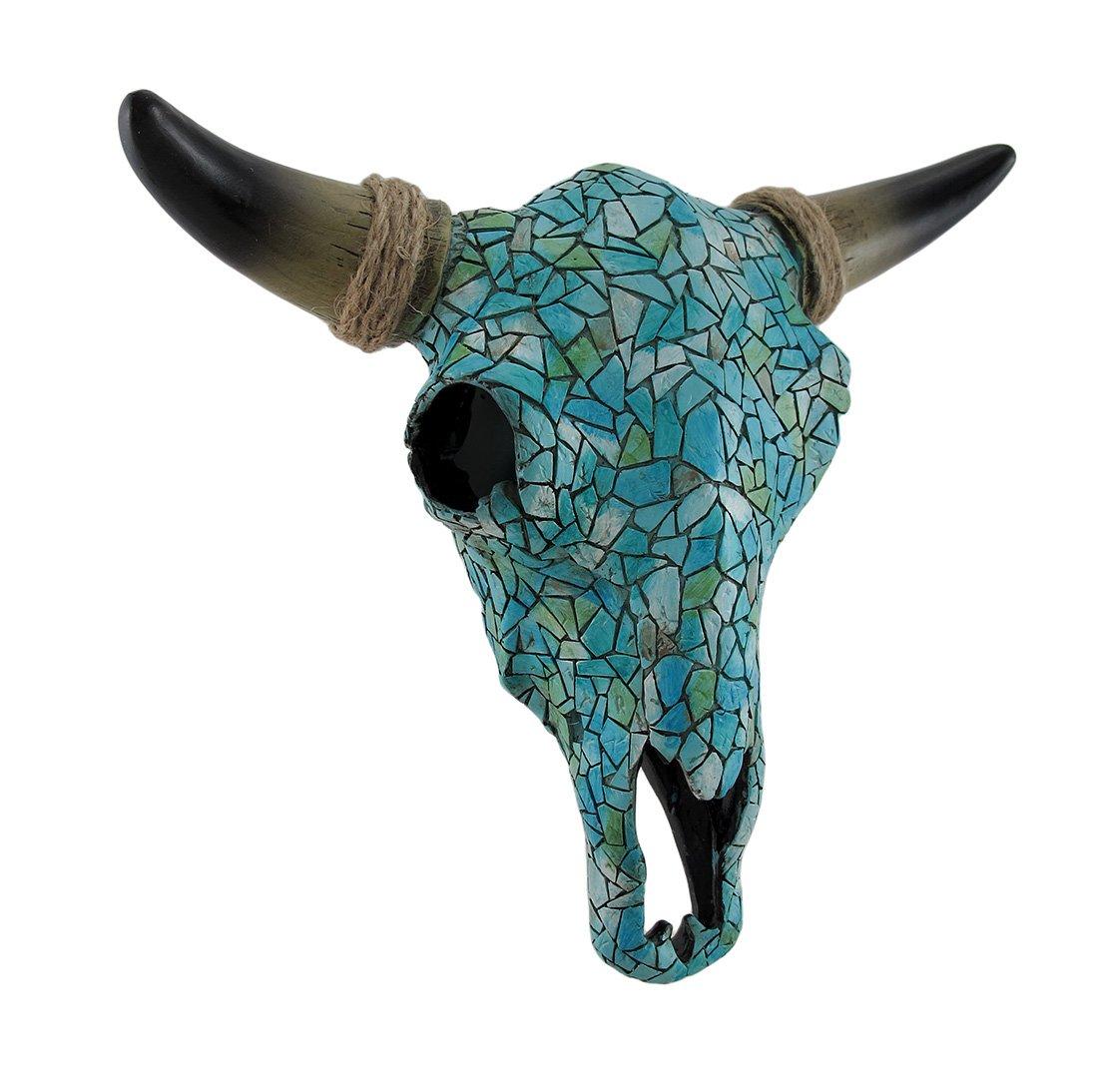 Zeckos Mosaic Turquoise Steer Skull Wall Hanging