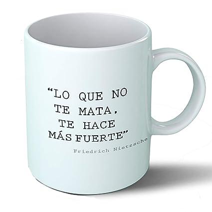 Planetacase Taza Desayuno Frases filosóficas Lo Que no te Mata… Friedrich Nietzsche Citas célebres Ceramica