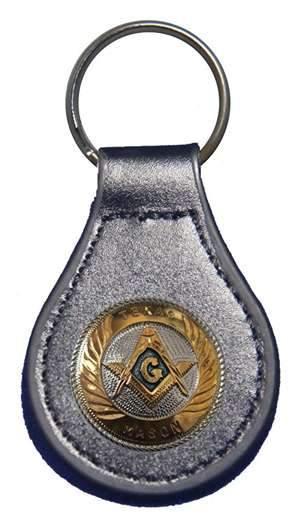 Small Texas Masons Badge leather key fob or keychain 1