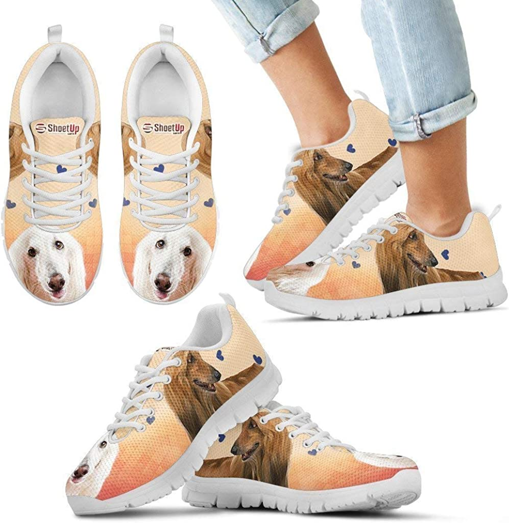 Luto Home White Afghan Hound Print Running Shoes Kids Casual Comfortable Sneakers Running Shoes