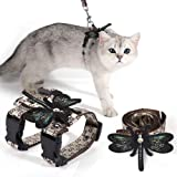 Unihubys Cat Harness with Leash Set- Adjustable Satin Material H Style Harness and Leash for Walking