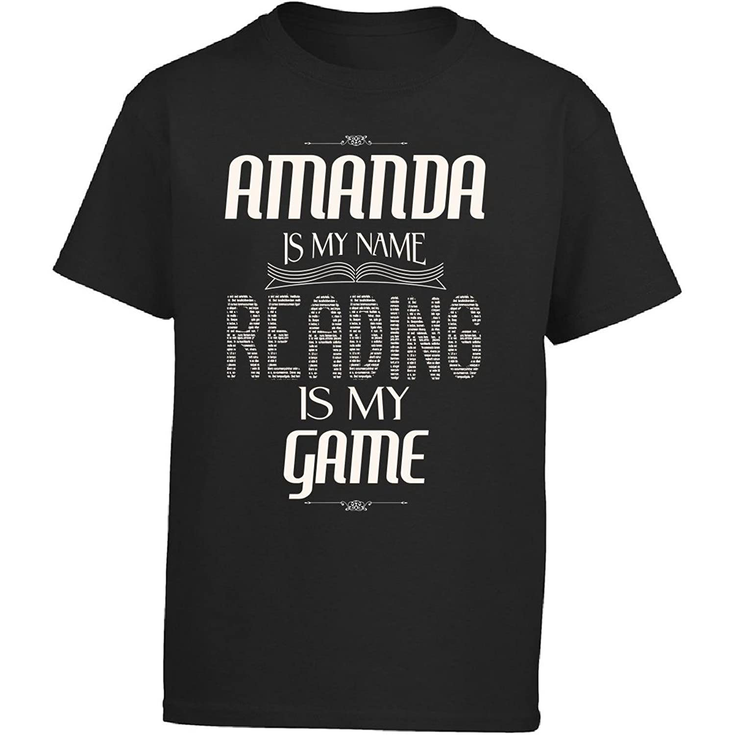 Amanda My Name Reading My Game Love To Read Library - Girl Kids T-Shirt