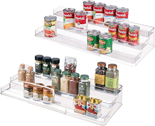 mDesign Large Plastic Adjustable, Expandable Kitchen Cabinet, Pantry, Shelf Organizer Spice Rack with 3 Tiered Levels of Storage for Spice Bottles, Jars, Seasonings, Baking Supplies – 2 Pack – Clear