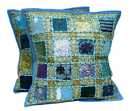 2 Blue Embroidery Sequin Patchwork Indian Sari Throw Pillow Cases Cushion Covers (Toss Cushion Sari Pillow Covers)