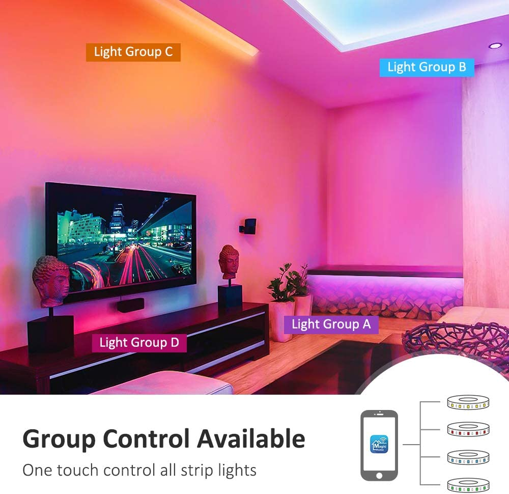 Working with Alexa//Goolge Assistant 20ft Wireless RGB LED Night Light 180LEDs Full Kits Non-Waterproof Lighting Strips with RF Remote /& UL Listed Adapter Novostella Smart LED Strip Lights