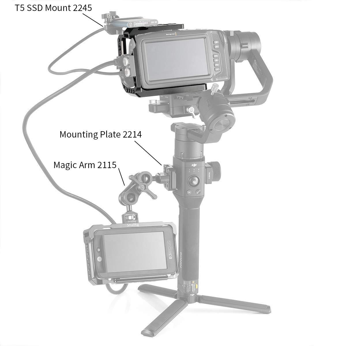 2254 Media Jaula con Mecanismo Anti-Giro y Rieles Incorporados de la OTAN SMALLRIG BMPCC 4K Media Cage Compatible con Blackmagic Pocket Cinema Camera 4K