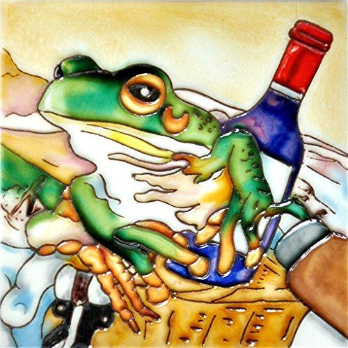"""Wine & Frog Basket - Decorative Ceramic Art Tile - 6""""x6"""" En Vogue"""