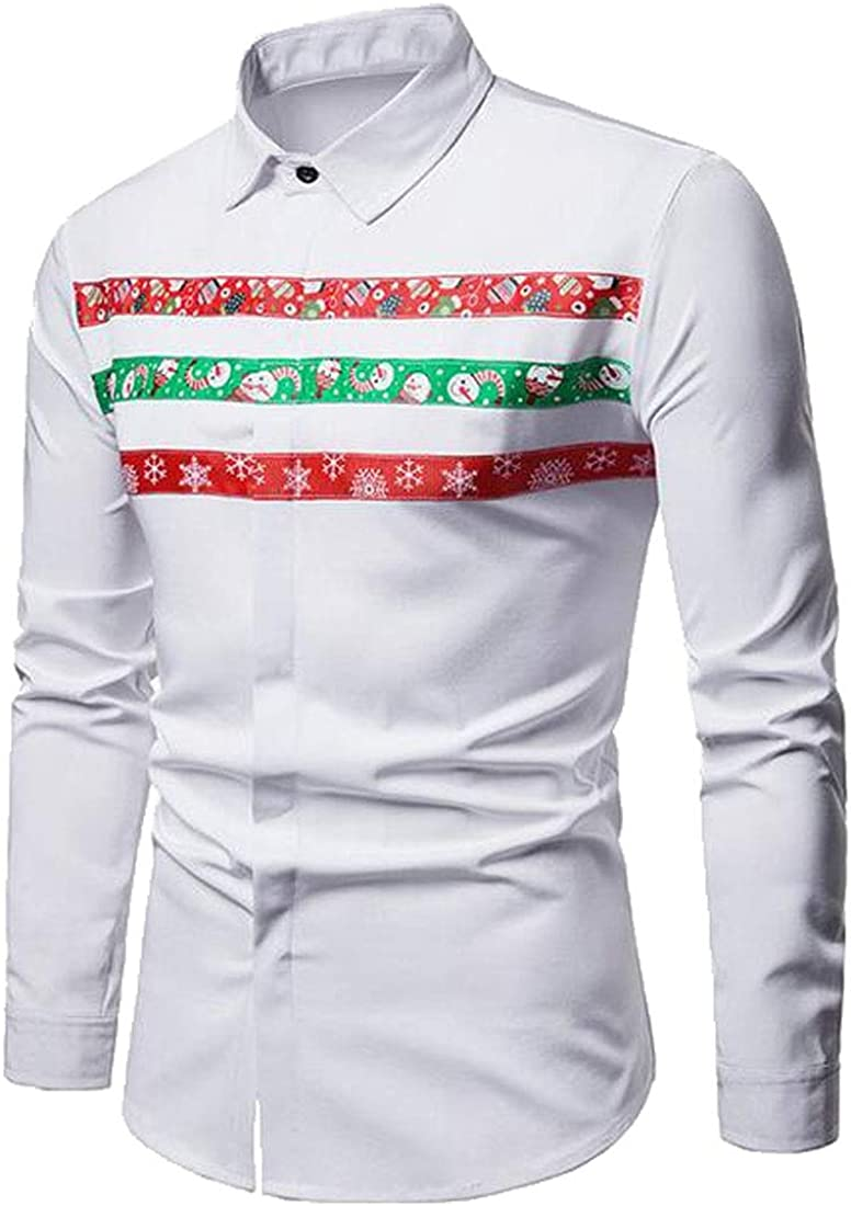 pipigo Mens Stripe Print Long Sleeve Loose Christmas Button Up Dress Shirts