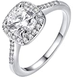 Cutesmile Fashion Jewelry 925 Sterling Silver CZ Crystal Square Rings Wedding Rings for Women (7)