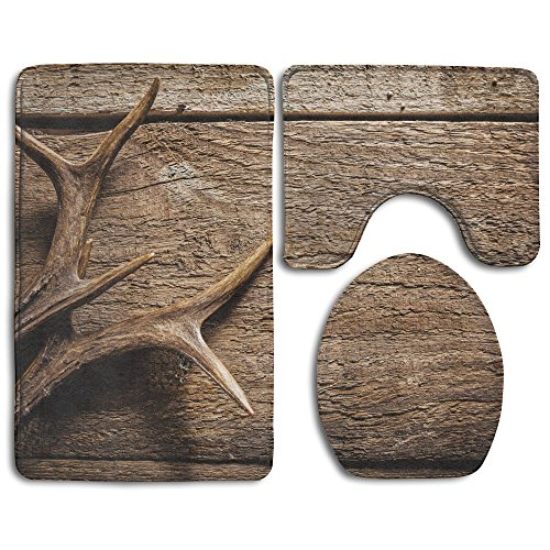 SarahKen Bathroom Rug Deer Antlers On Wood Table Rustic Texture Surface Hunting Season 3 Piece Bath Mat Set Contour Rug And Lid (Deer Bath)