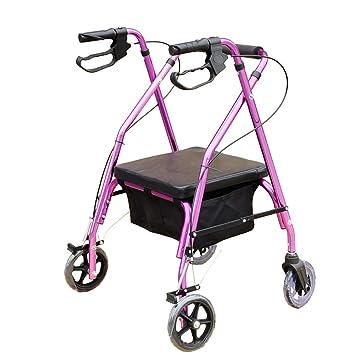 Andadores para discapacidad rollator con tracción en Las Cuatro Ruedas con Respaldo,Asiento Acolchado,portátil,Andador para Personas Mayores,púrpura: ...