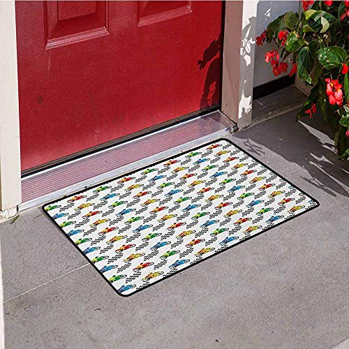 GloriaJohnson Motorcycle Front Door mat Carpet Sports Bike with Racing Riders Among Black and White Chequered Flags Competition Machine Washable Door mat W19.7 x L31.5 Inch -