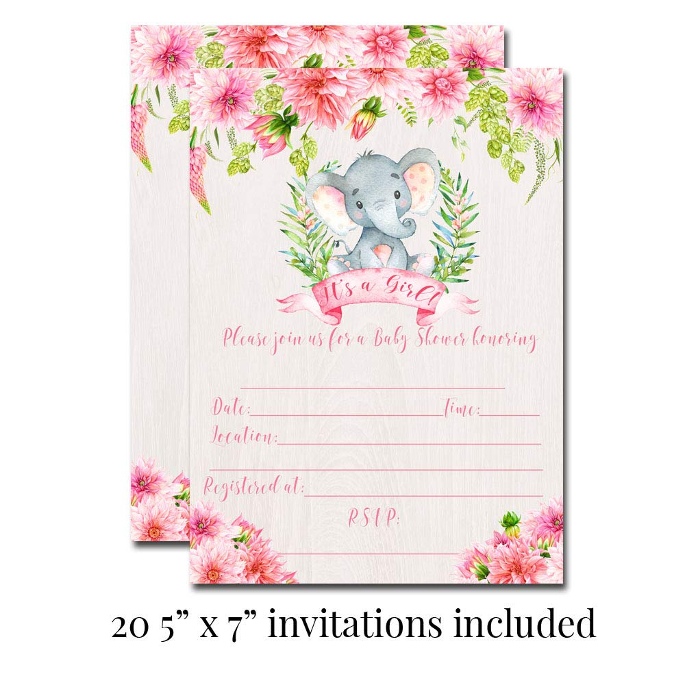 Deluxe Watercolor Floral Elephant Baby Shower Party Bundle for Girls, Includes 20 each of 5''x7'' Fill In Invitations, Diaper Raffle Tickets, Bring a Book Cards, 2'' Thank You Favor Stickers w/ Envelopes by Amanda Creation (Image #2)