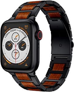 Yeejok Watch Bands Compatible with Apple Watch Band 38mm 40mm for Men Women, Natural Red Sandalwood & Metal Watch Strap Replacement for iWatch Series 6/5/4/3/2/1/ SE, Black