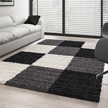 Wohnzimmer Schwarz Weiß Grau | Teppich Hochflor Langflor Wohnzimmer Gunstig Shaggy Kariert Schwarz
