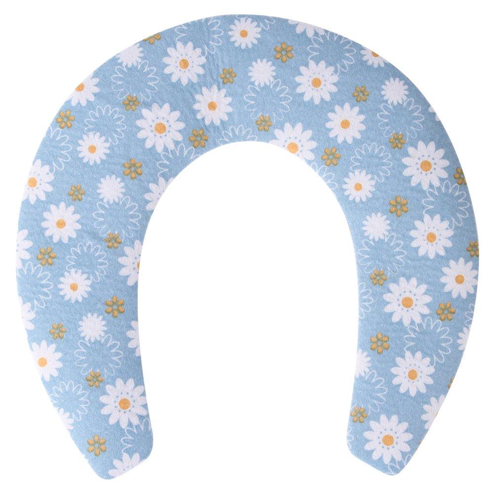 saounisiトイレシートカバー子供用幼児用ベビーChildren Cartoon冬カラフルキュートWarmerポータブル使い捨て洗濯可能再利用可能な旅行トイレトレーニングトイレシートカバー1,2,3パック ブルー  1Pack(U-Shaped)-Blue Flower B077HZ7QDR
