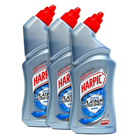 Harpic Platinum Active-Shield Toilet Cleaner, Marine - 500ml (Pack of 3)