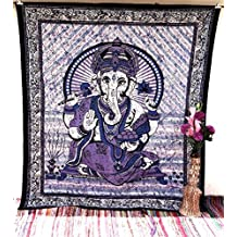 Handicrunch Large Lord Ganesha Meditation Aum Tapestry Wall Hanging Décor