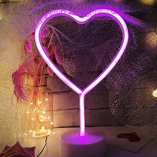 LED Heart Sign Night Light,Neon Heart Shaped Decor Light with Holder Base,Table light Marquee signs/Wall Decor for Christmas,Birthday party,Kids Room,Living Room,Wedding Party Decor(Pink)