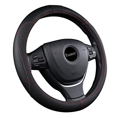 Yuauy 15inch Auto Car Steering Wheel Cover Microfiber Leather Breathable Anti-Slip Universal Steer Wheel Cover (Black.): Automotive