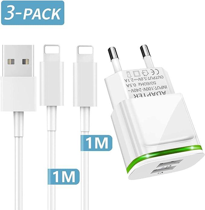 PICILOO Cargador Phone, 3-Pack 1M Cable + Dos Enchufe USB 2.1A 5V Movil Pared Adaptador Replacement for iPhone 11 10 XS/XS MAX/XR/X 8/7/6/6S Plus SE/5S/5C, Pad Air Mini Pro, Pod: Amazon.es: Electrónica