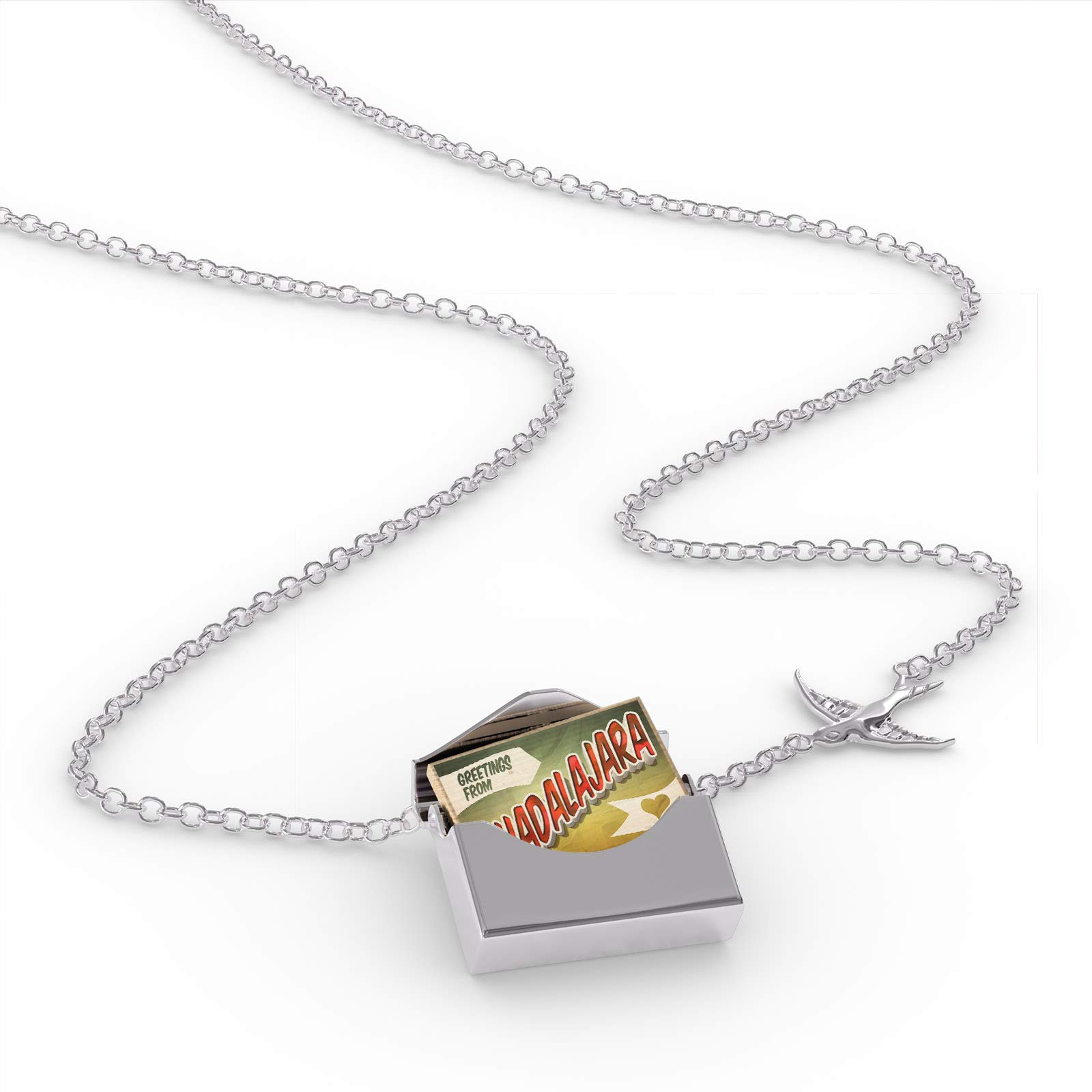 NEONBLOND Locket Necklace Greetings from Guadalajara, Vintage Postcard in a Silver Envelope