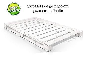 Dydaya 2 x Palets de 90x200 Pintados de Blanco de Madera ...